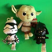 """Star Wars lot: 4"""" Mini Talking Plush Clips: Darth Vader & Storm Trooper +Yoda"""
