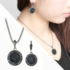 Vintage Black Gem Party Jewelry Set Crystal Stone Pendant Necklace Earrings Ring