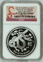 Australia 2013 P Silver Snake Early Releases NGC Proof-70 UC Australian PF 70