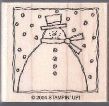 Winter Snowman Snow Scene Wood Mount Rubber Stamp from Stampin Up 2004 NEW