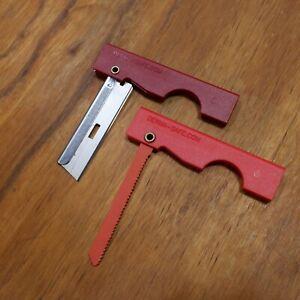 Derma- Safe Folding Utility Razor Knife & Survival Pocket Saw set in RED