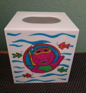 Vintage Barney The Purple Dinosaur Tissue Box Cover Holder Square Plastic 1993