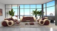 Design Wohnzimmer Polster Set Sofagarnitur Leder Couch Sitz Garnituren 3+2+1 Neu