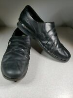 Clarks Artisan  Womens Sz 11 M Black Slip On Loafers Leather Shoes GUC