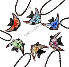 FREE Wholesale Lot 6pcs Flower Fish Lampwork Glass Pendants Leather Necklace