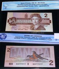 CANADA , 1986 $2  , <> RADAR Bank Note <> 2 DIGIT <>7779777 <>GEM UNCIRCULATED