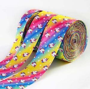 5 Yards Rainbow Unicorn Grosgrain Ribbon DIY jewelry bow Handmade Gift wrapping