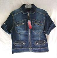YUKA JEANS Denim Jean Jacket Cotton Stretch Shirt Top Womens size Medium NEW