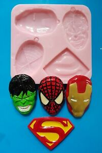 COMIC SUPERHEROS, AVENGERS SILICONE MOULD FOR CAKE TOPPERS, CHOCOLATE, CLAY ETC