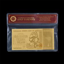 WR Simbabwe / Zimbabwe 24k Gold Banknoten 100 Trillion Dollars Goldgeldrechnung
