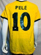 Brazil Pele Signed Soccer Jersey - Autographed PSA DNA COA