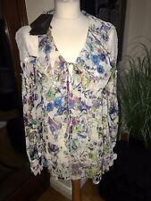 Roberto Cavalli Silk Chiffon Floral Print Blouse 40 Made In Italy Bnwt RRP £995