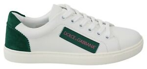 DOLCE & GABBANA Shoes White Green Leather Casual Sneakers Womens EU41 / US10.5