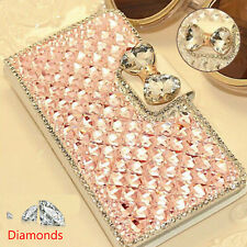 Luxury Bling BowKnot Crystal Diamond Wallet Flip Case Cover For Various Phones