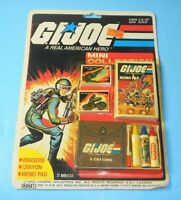 GI Joe Mini Collection Crayons Eraser Memo Pad Note Book Sealed File Card Back