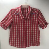 Bit & Bridle Women's Pearl Snap Front Embroidered Western Shirt Pink Plaid M