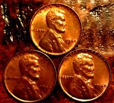 1944,1946,1948 BU WHEAT PENNY LINCOLN CENT SET RARE ANTIQUE USA COIN  #948A
