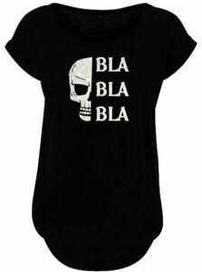 BlingelingShirts Damen Fun Shirt Glitzer Totenkopf Bla Bla Bla Sprüche Skull T-S