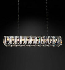 Black iron clear crystal chandelier industrial dining room table villa lighting