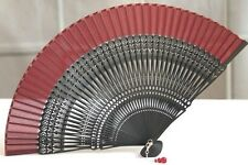 HIGH QUALITY Japanese Folding Clear Hand Engraved Flower Bamboo Pocket Fan Red