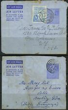 ADEN 1953 TWO AIR LETTERS TO PORTUGUESE INDIA AND N.Y.