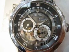 BULOVA MEN'S AUTOMATIC 21 JEWELS SKELETON ALL STAINLESS S ORIGINAL JAPAN 96A119