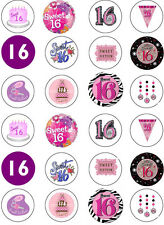 16th Birthday Girls Edible Cupcake Fairy Cake Wafer Paper Toppers x 24