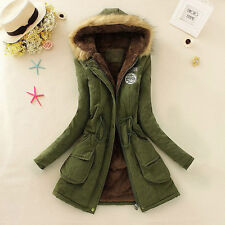 Women Warm Long Coat Fur Collar Hooded Jacket Slim Winter Parka Outwear Coat Lot