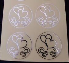 50x Silver Love Heart Envelope Sticker Seals for Wedding Invitation Cards Invite