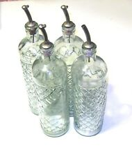 "Vintage Diamond Pattern, Clear Glass Set- 4 Liquor Decanters, Glass Part is 12"""