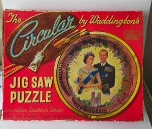 Waddingtons Vintage Circular jigsaw Puzzle coronation souvenir special 1953