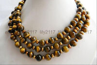 Natural 50 Inches 10mm Round Yellow Tigers eye Gemstone Beads Necklace AAA