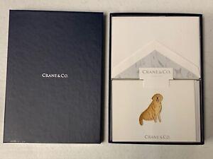Crane & Co. Golden Retriever Note On Peal White Letter 10 notes & envelopes NEW