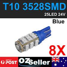 8 X 24V BLUE T10 W5W LED 25 SMD 3528 Car Dash Tail Side Park Light Lamp Blub 194