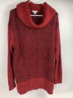 EUC J.Jill Red Black Knit Cozy Holiday Cowl Neck Sweater Tunic Women's Size XL