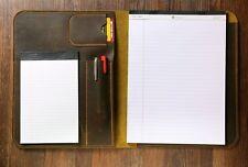 Distressed Leather letter size legal pad case A4 document portfolio organizer