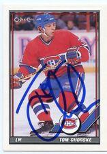 TOM CHORSKE CANADIENS AUTOGRAPH AUTO 91-92 O-PEE-CHEE OPC #287 *38728