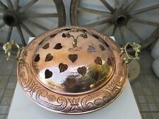 VINTAGE HANDMADE BEAUTIFUL ORNATE STOVE BRAZIER COPPER HAMMERED LID WITH HEART