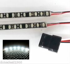Blanco LED Modding carcasa de PC luz (Doble 20cm Tiras) Molex 60cm Colas