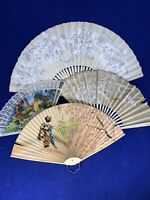 4 Fans Vintage - 1 = Made in Occupied Japan/1940's hand painted Folding Fan c27