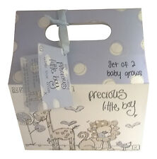 Baby Shower Gift - Precious Little Boy Baby Bodysuits Clothes And Gift Bag Blue