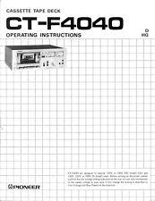 Manuale d'uso registratore a cassette Pioneer CT-F4040, lingua inglese