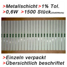 1500 Metallschicht Metallfilm Widerstände 0,6W 1% Sortiment Set  Resistor