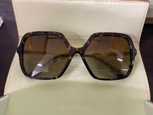 BURBERRY BE4324 3002T5 Dark Havana Square Women's 59 mm Polarized Sunglasses NEW