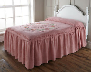 PINK Candlewick Roma Bedspread Throw  100% Cotton Chenille TRADITIONAL