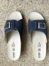 New Ladies Navy Blue Leather Adustable Buckle Sliders/sandals Size 5