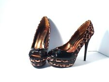 "Bamboo® animal print 6"" heels with peekaboo front size 8½"