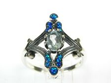 .50ct Natural Blue Topaz and Opal Victorian Deco Sterling Filigree Ring 1001O