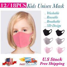 6/12/18PCS Reusable Washable Mix Color Kids Unisex Fashion Cloth Face Mask