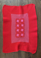 Vintage Handmade Red Pink Granny Square Crochet Lap Blanket Afghan Throw